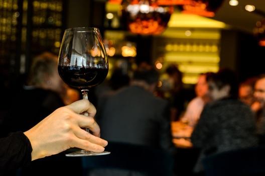 Wine toast in bar